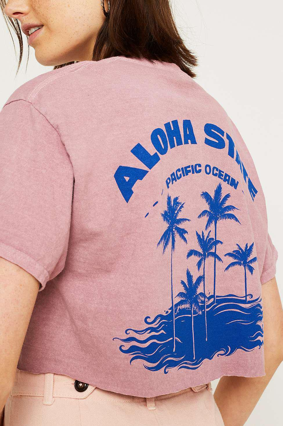 40d63301 Urban Outfitters Uo Aloha State Crop T-shirt - Womens L in Pink - Lyst