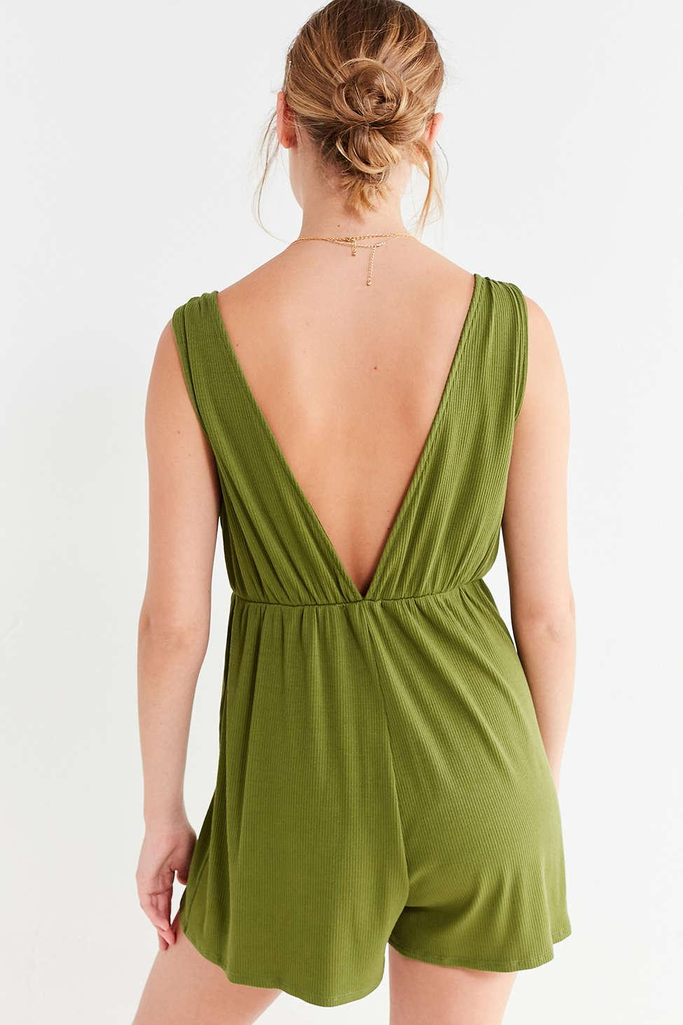 a1b17bbd553a Lyst - Urban Outfitters Uo Ribbed Knit Plunging Babydoll Romper in Green