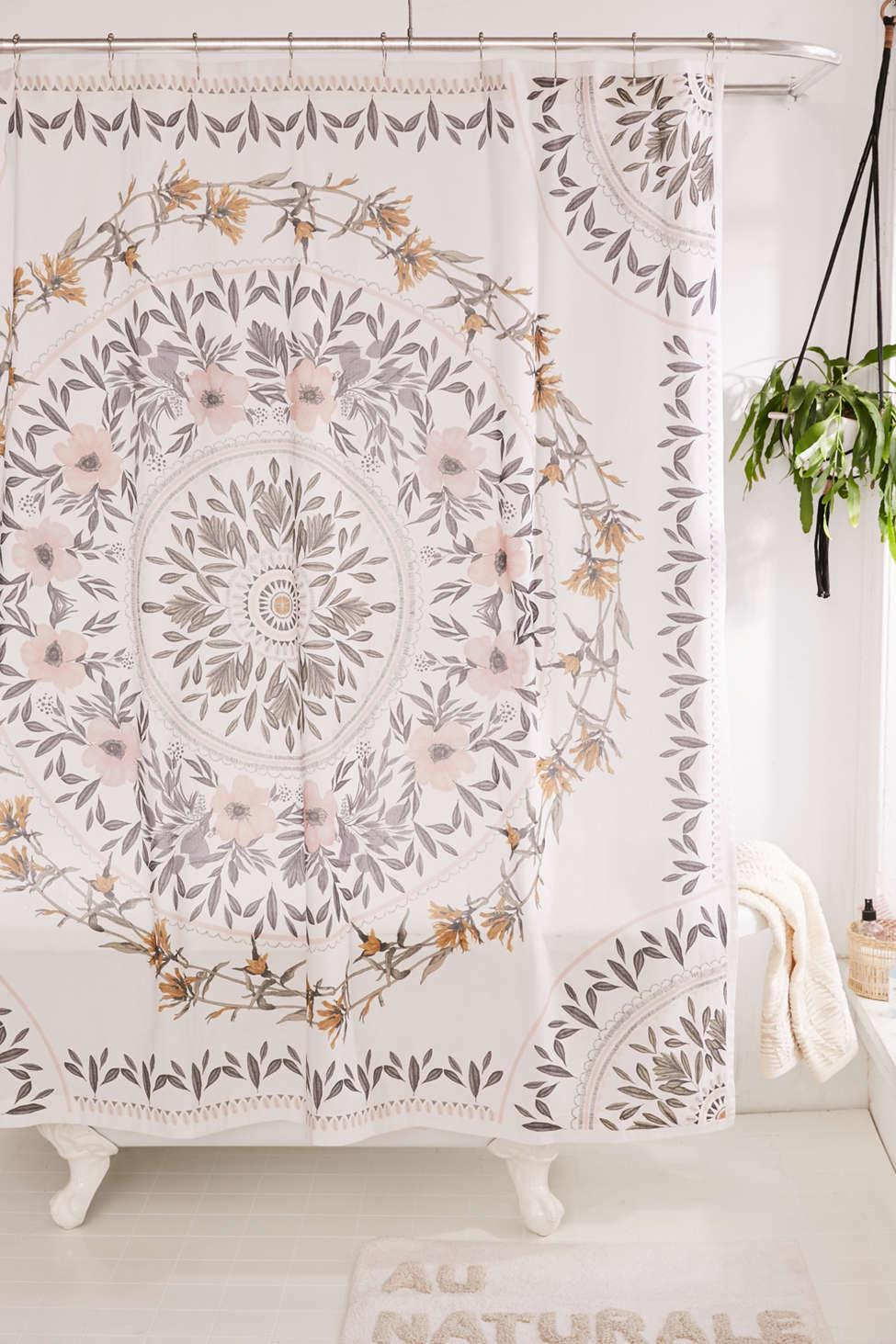 Urban Outfitters Mens Purple Sketched Floral Medallion Shower Curtain