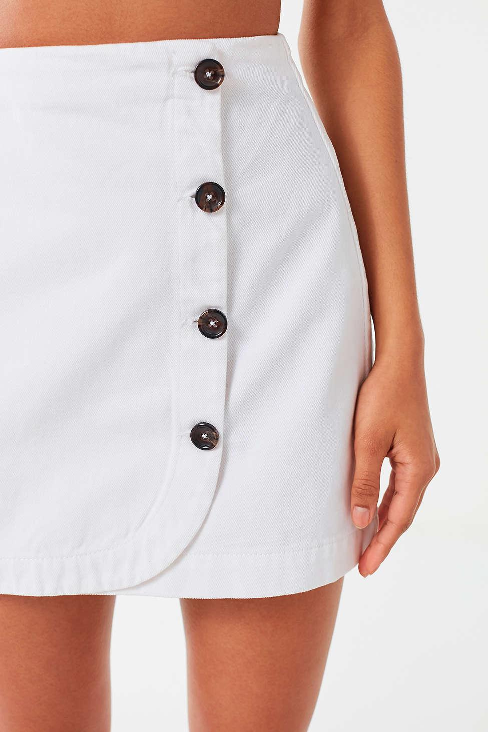 43c8bc1b2191 Urban Outfitters Uo Shelly Twill Button-down Wrap Mini Skirt in ...