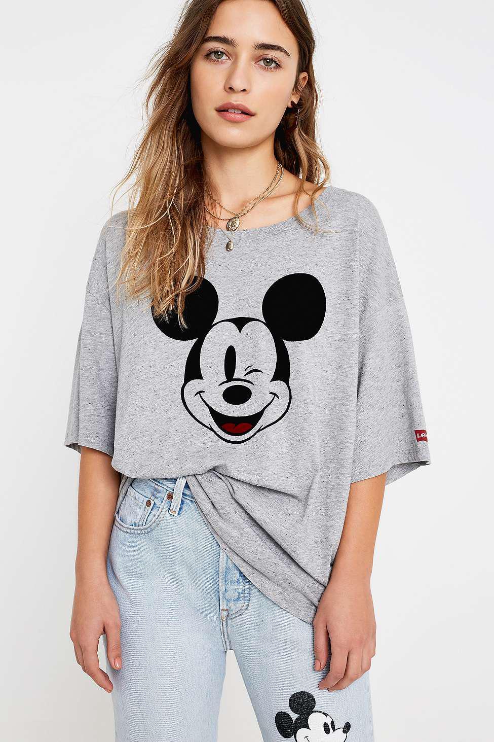 aa650f9c Levi's Mickey Mouse Slacker Grey T-shirt - Womens Xs/s in Gray - Lyst