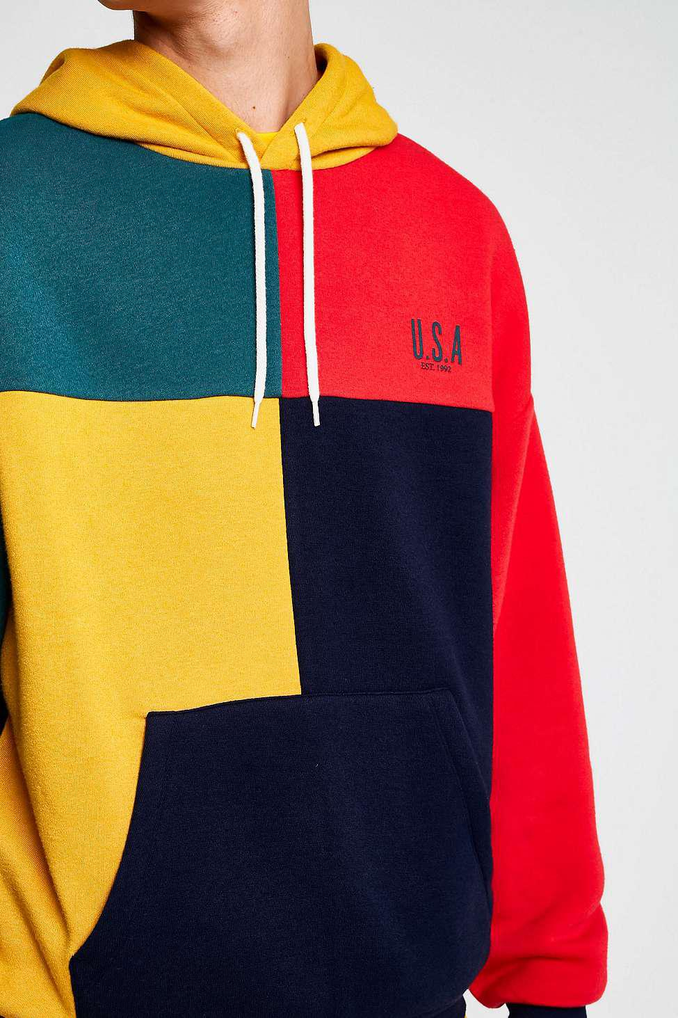 e3bb72b327d Urban Outfitters Uo Colour Block Usa Hoodie - Mens L for Men - Lyst