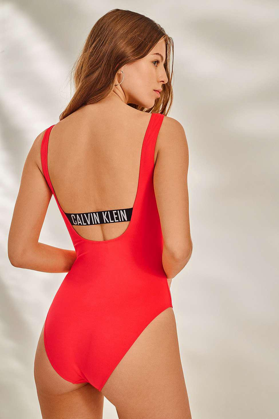 c7098347a6358 Calvin Klein Intense Power Pink Square Scoop One-piece Swimsuit ...