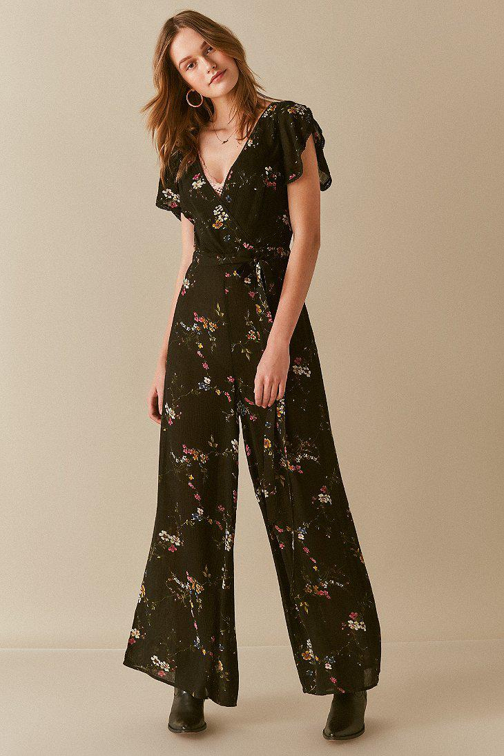 Lyst Urban Outfitters Uo Marie Prairie Wrap Jumpsuit in Black