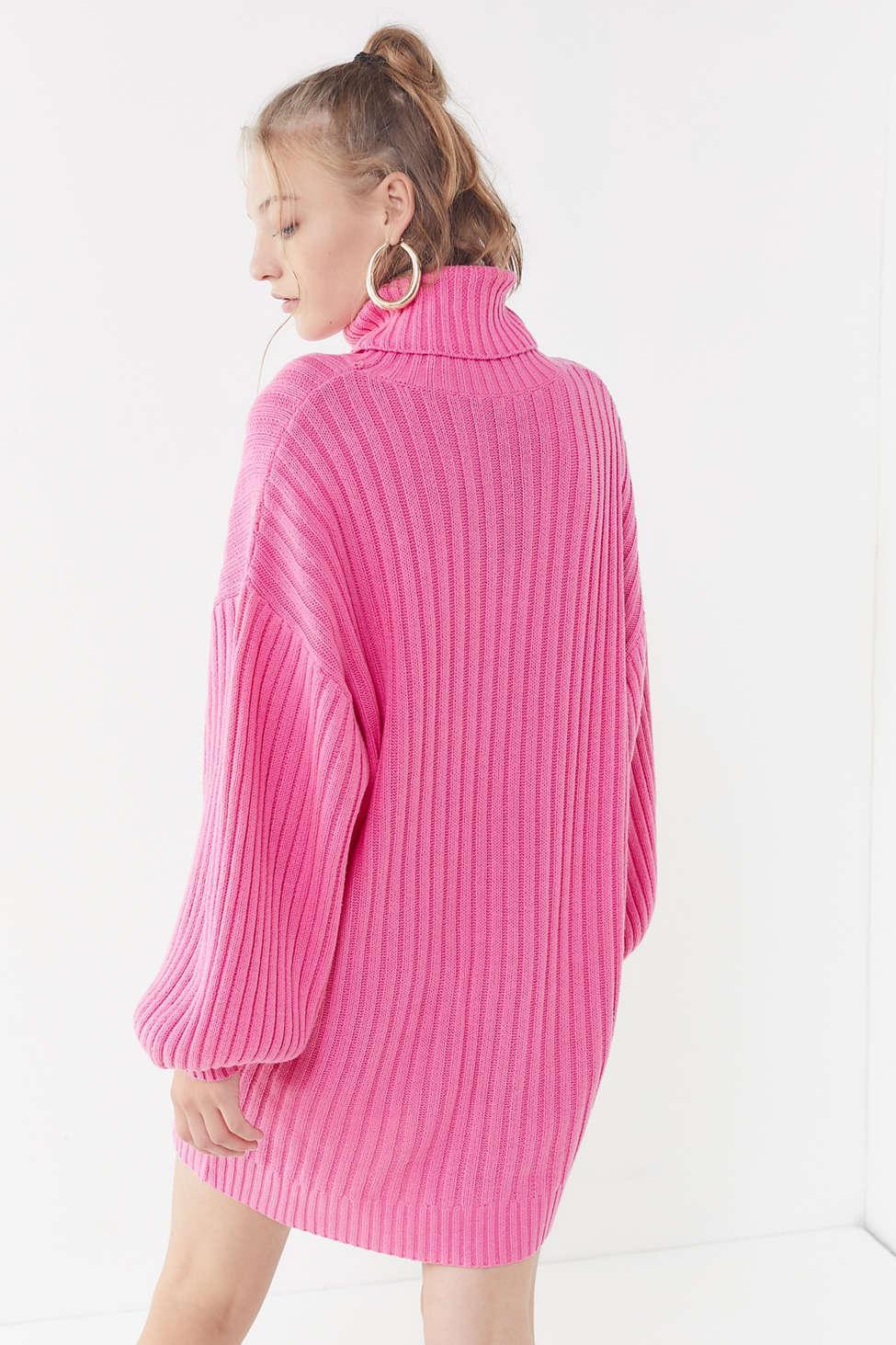 928b826744 Urban Outfitters Uo Jill Turtleneck Sweater Mini Dress in Pink - Lyst
