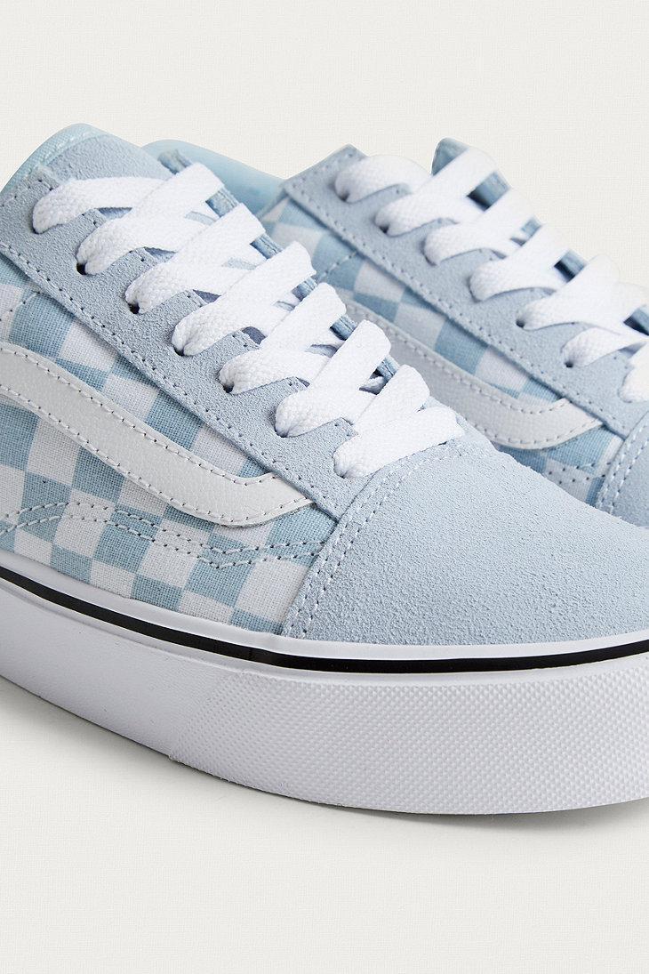 vans checkerboard light blue
