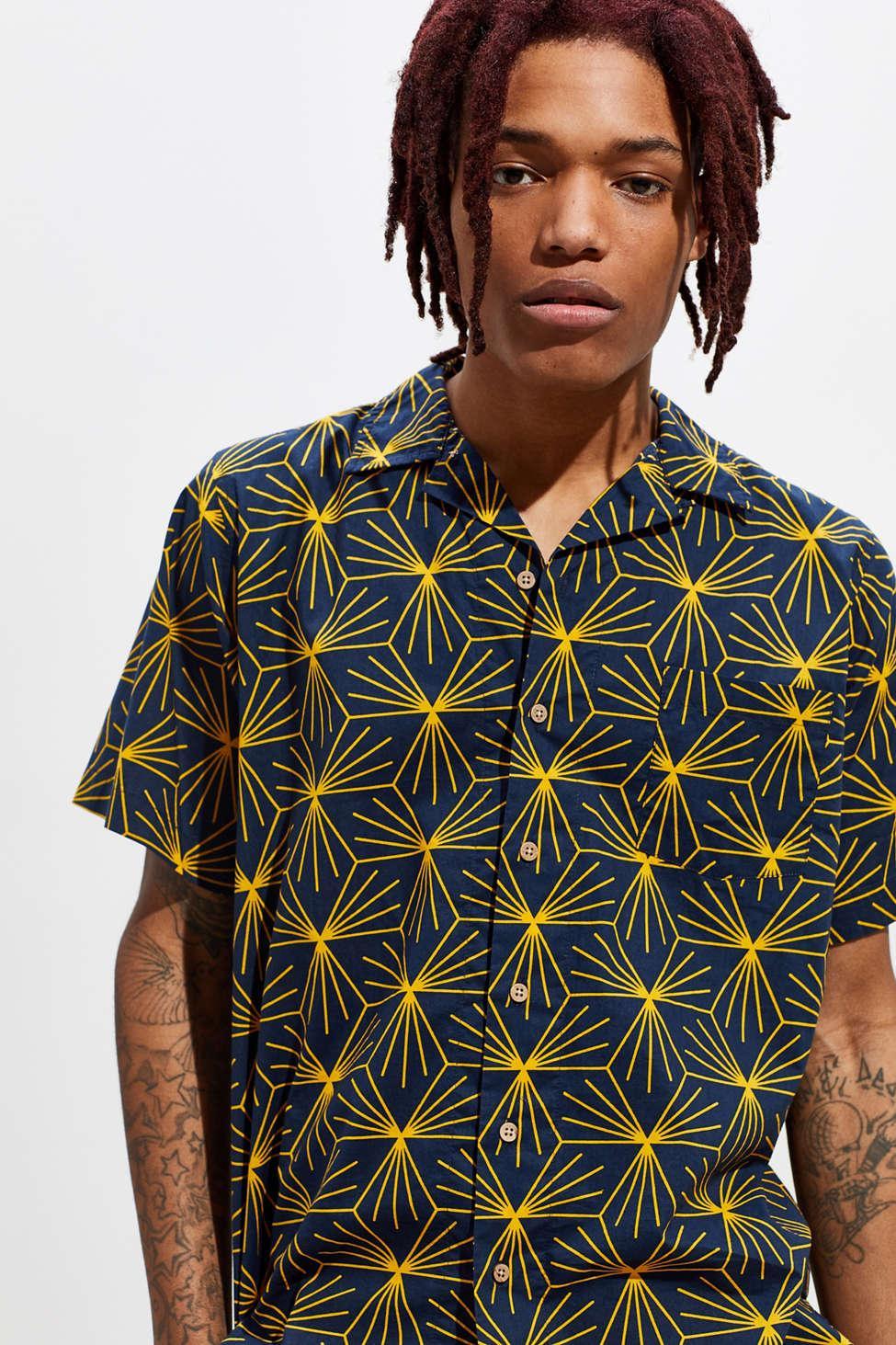 524b620e651e4 Lyst - Ambsn Starburst Short Sleeve Button-down Shirt in Blue for Men