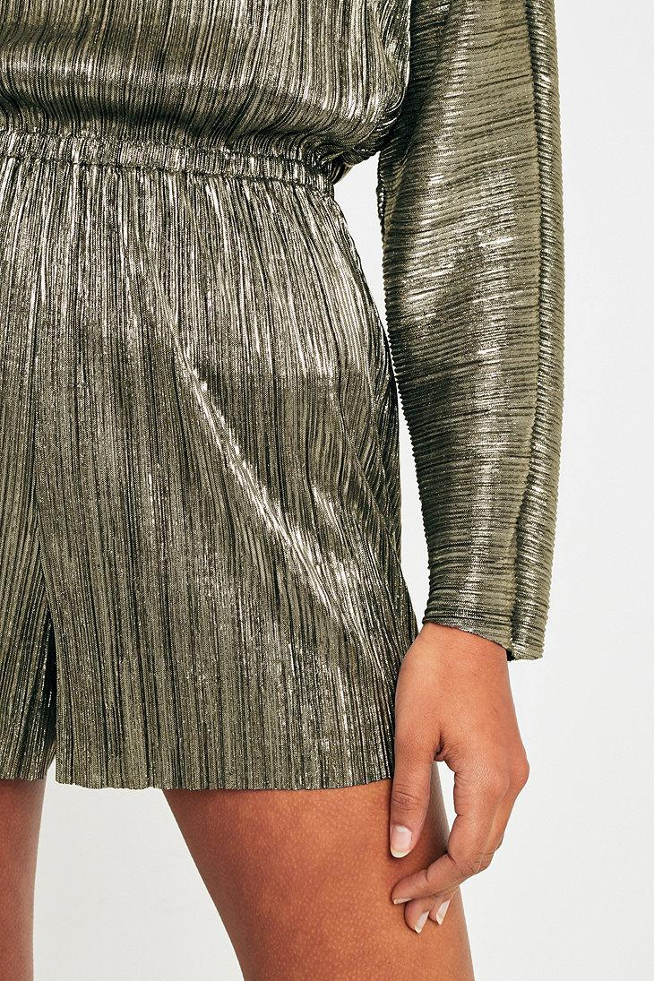 4e331f3cf6c Urban Outfitters Pins   Needles Metallic Plisse Playsuit in Metallic ...