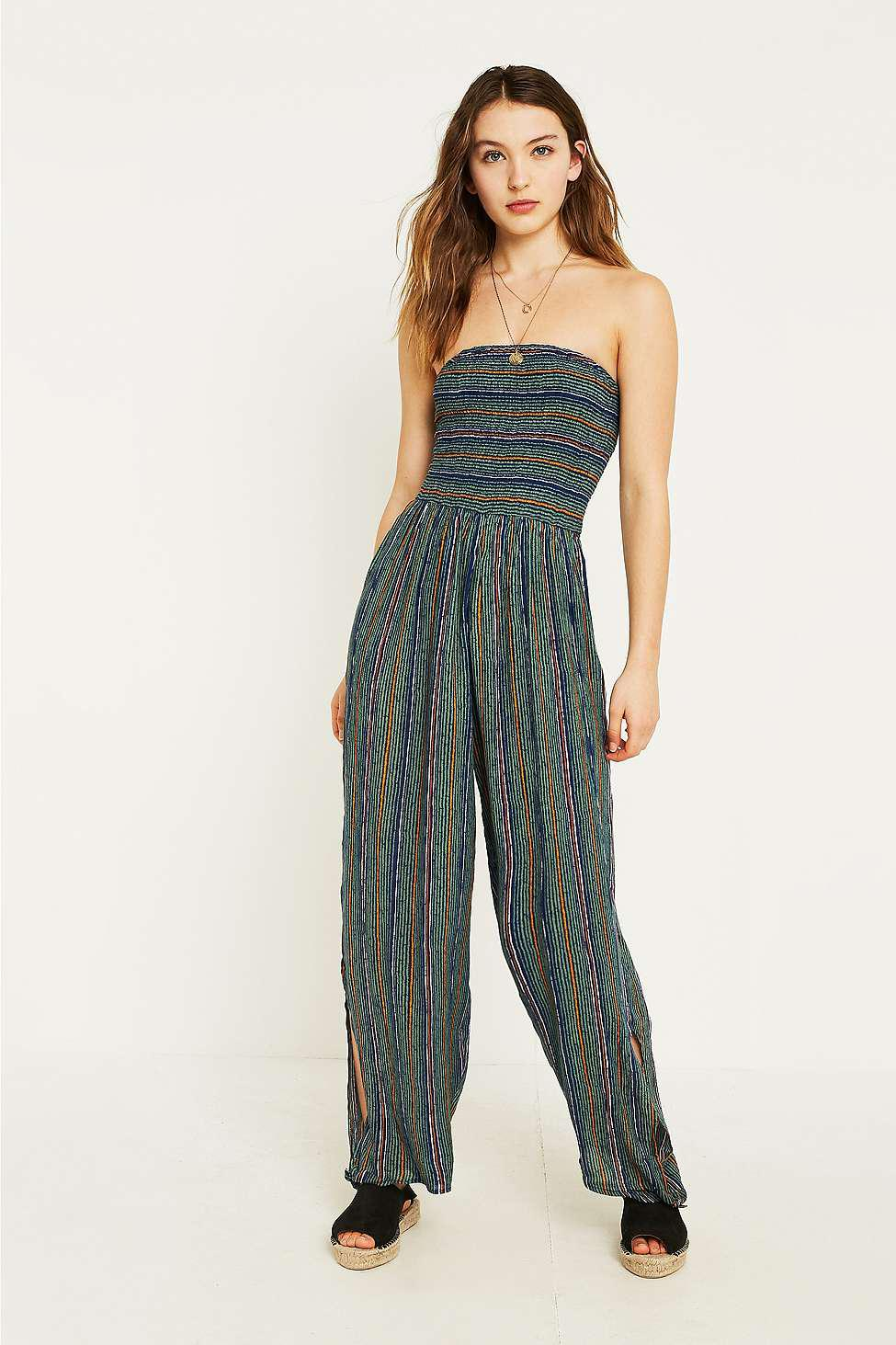 Urban Outfitters Uo Rambaugh Striped Jumpsuit In Blue Lyst