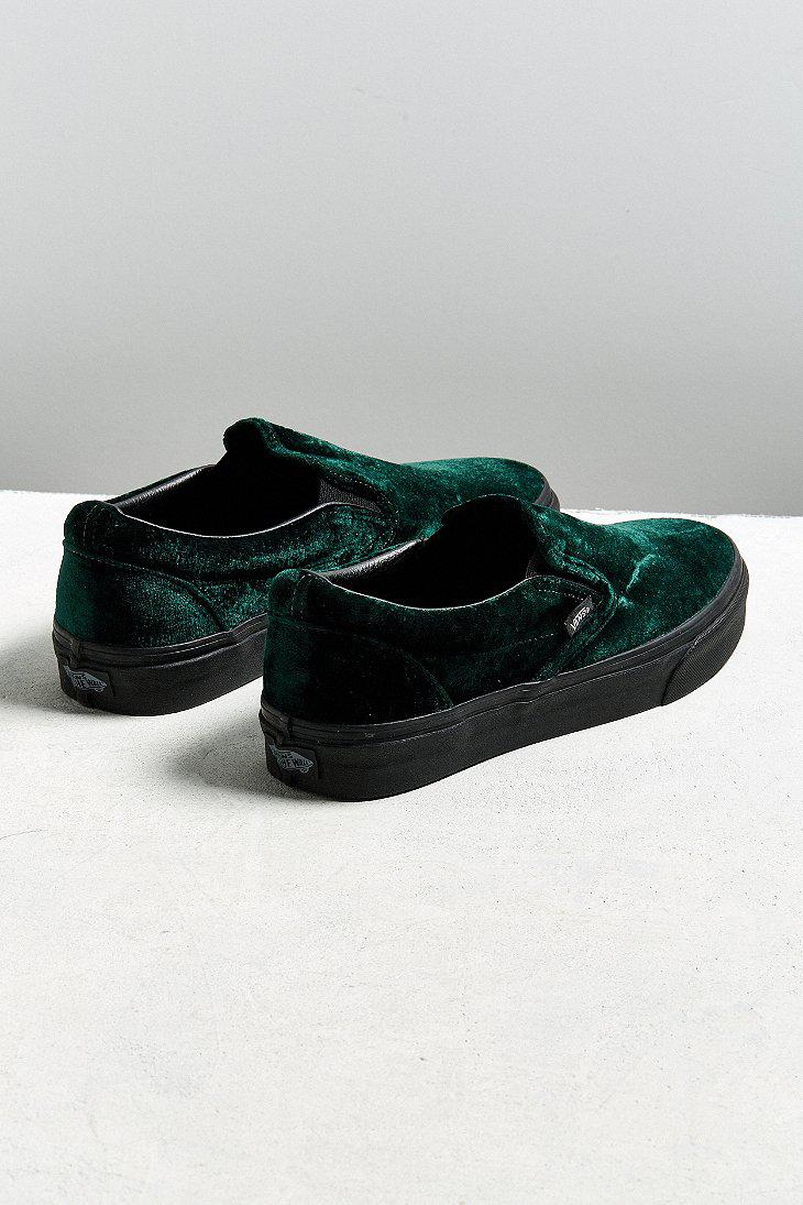 5d674b9b564f Lyst - Vans Vans Classic Slip-on Green Velvet Sneaker in Green for Men