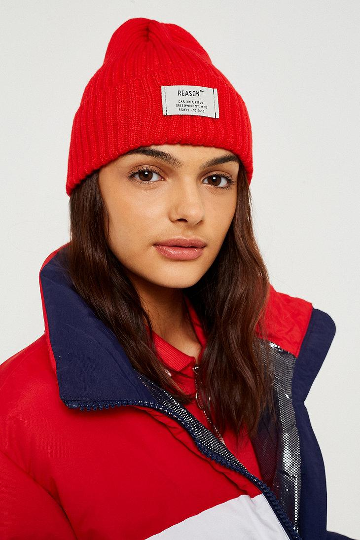 89c649212 Reason Front Tab Beanie in Red - Lyst
