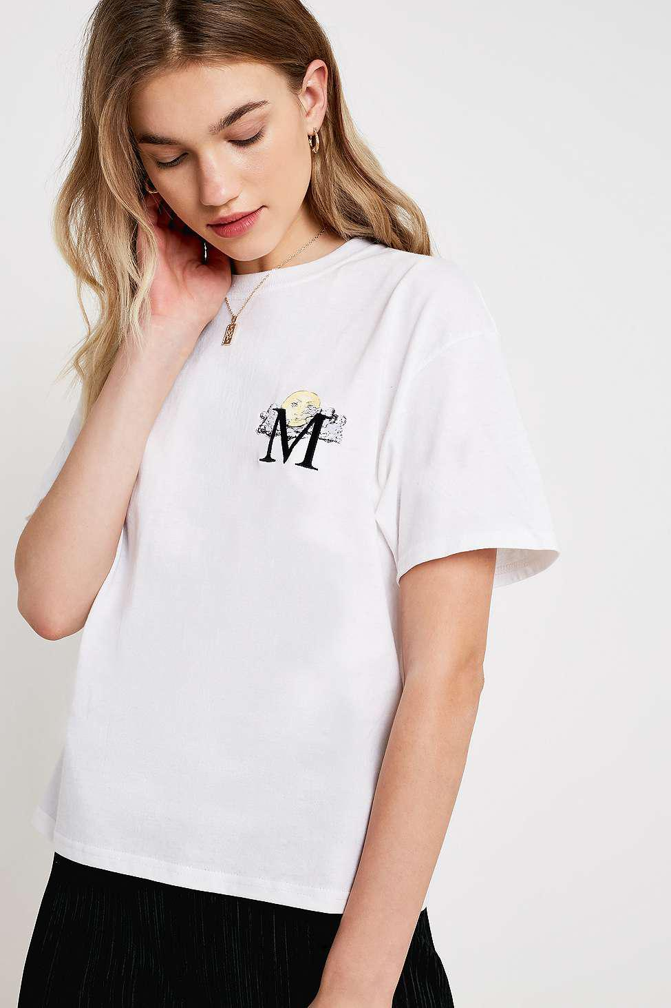 80fe487452d83f Urban Outfitters Uo 'm' Initial Illustration T-shirt - Womens Xs in ...
