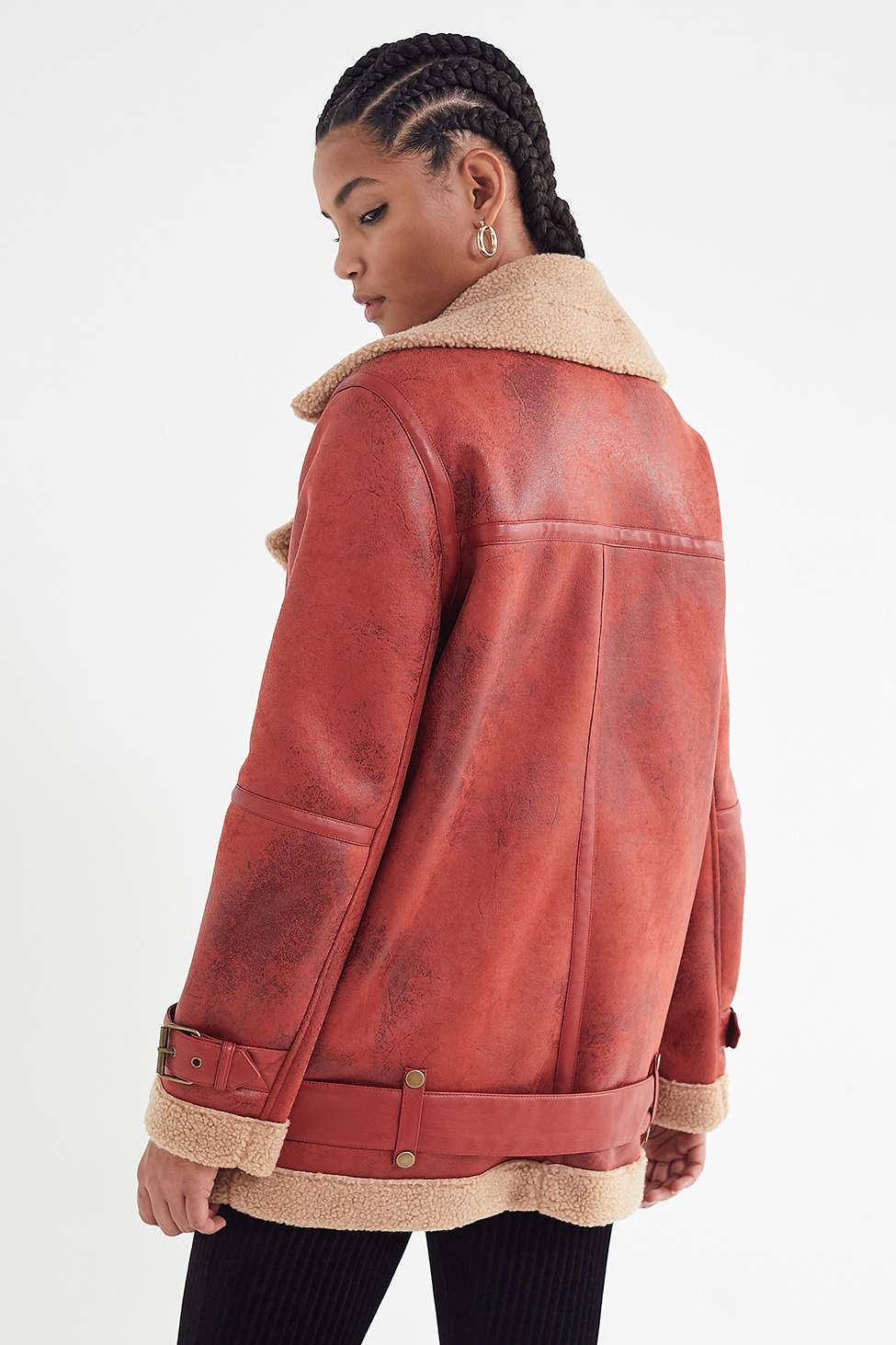 Urban Outfitters - Red Uo Oversized Faux Leather Aviator Jacket - Lyst.  View fullscreen 0669fc063