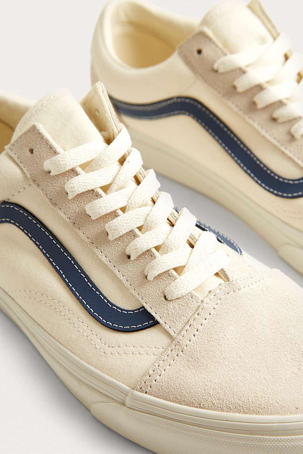 59fc009225 Vans Old Skool White And Vintage Navy Trainers - Mens Uk 10.5 in ...