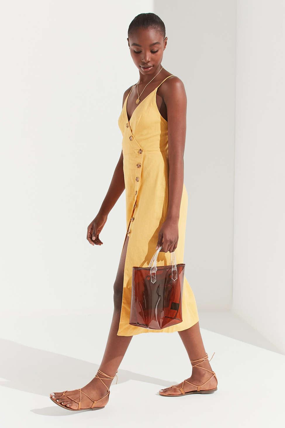 6c952b675f Urban Outfitters - Uo Amber Yellow Linen Button-through Midi Dress - Womens  M -