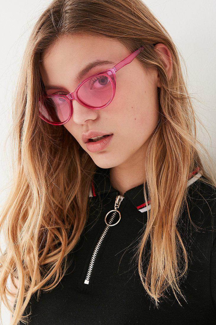 8b327bbf77bc04 Lyst - Urban Outfitters Slim Retro Cat-eye Sunglasses in Pink