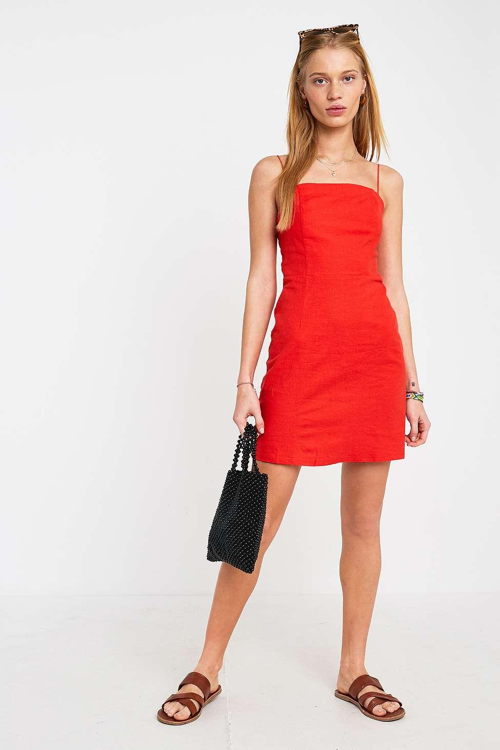 c29d54115f0 Urban Outfitters - Uo Colette Red Linen Mini Dress - Womens Xs - Lyst. View  fullscreen