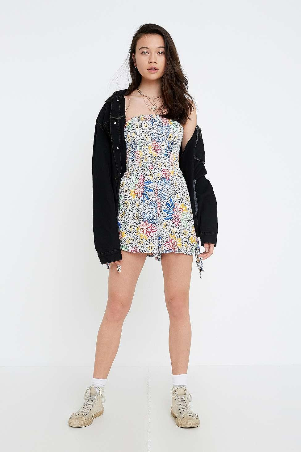 9093b3cbcd0 Urban Outfitters Uo Sherri Strapless Smocked Playsuit - Womens M in ...