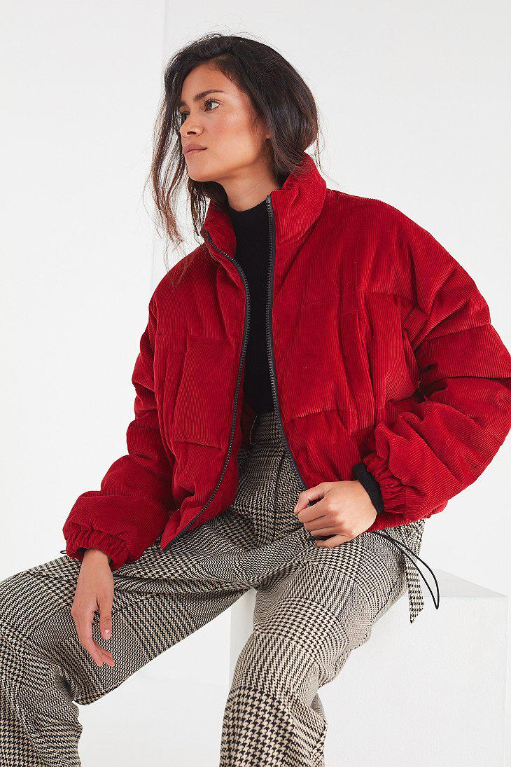 Lyst Urban Outfitters Uo Corduroy Puffer Jacket In Red