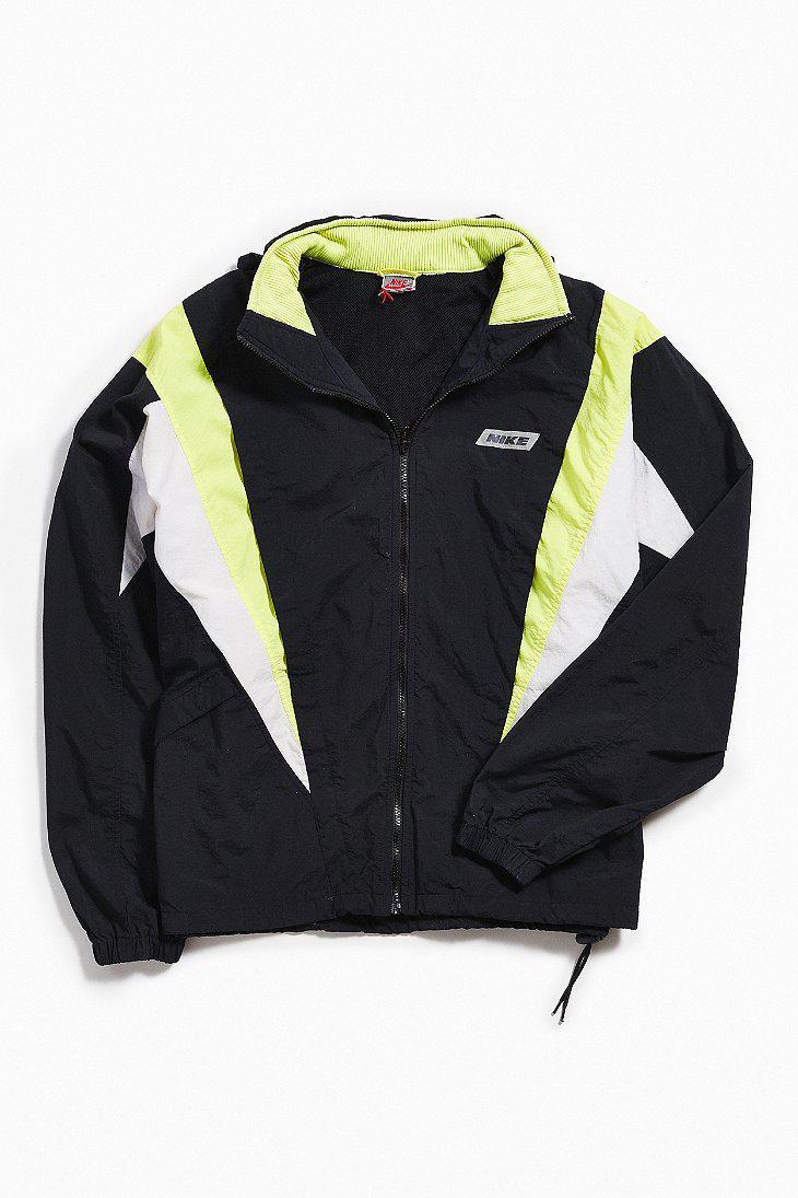 Lyst - Urban Outfitters Vintage Nike Black + Lime Windbreaker Jacket ... 22b24c440