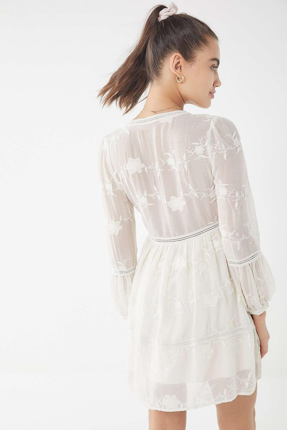 7e8b8c9364a Lyst - Urban Outfitters Uo Clara Embroidered Empire-waist Dress in White