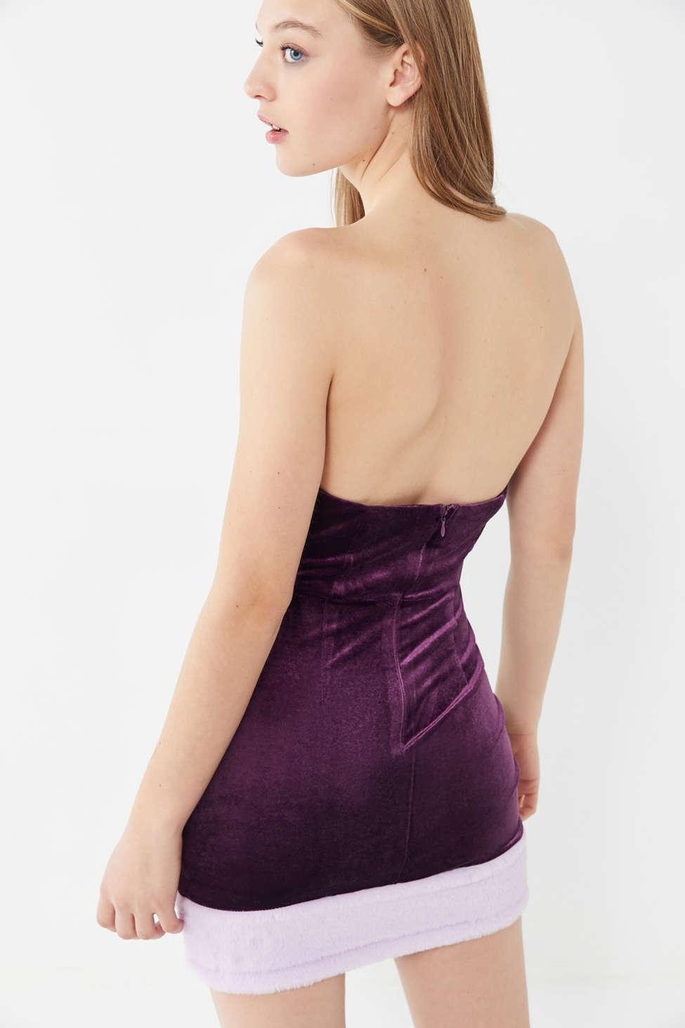 9cdb6137b531 Urban Outfitters - Purple Uo Velvet Faux Fur Trim Strapless Mini Dress -  Lyst. View fullscreen