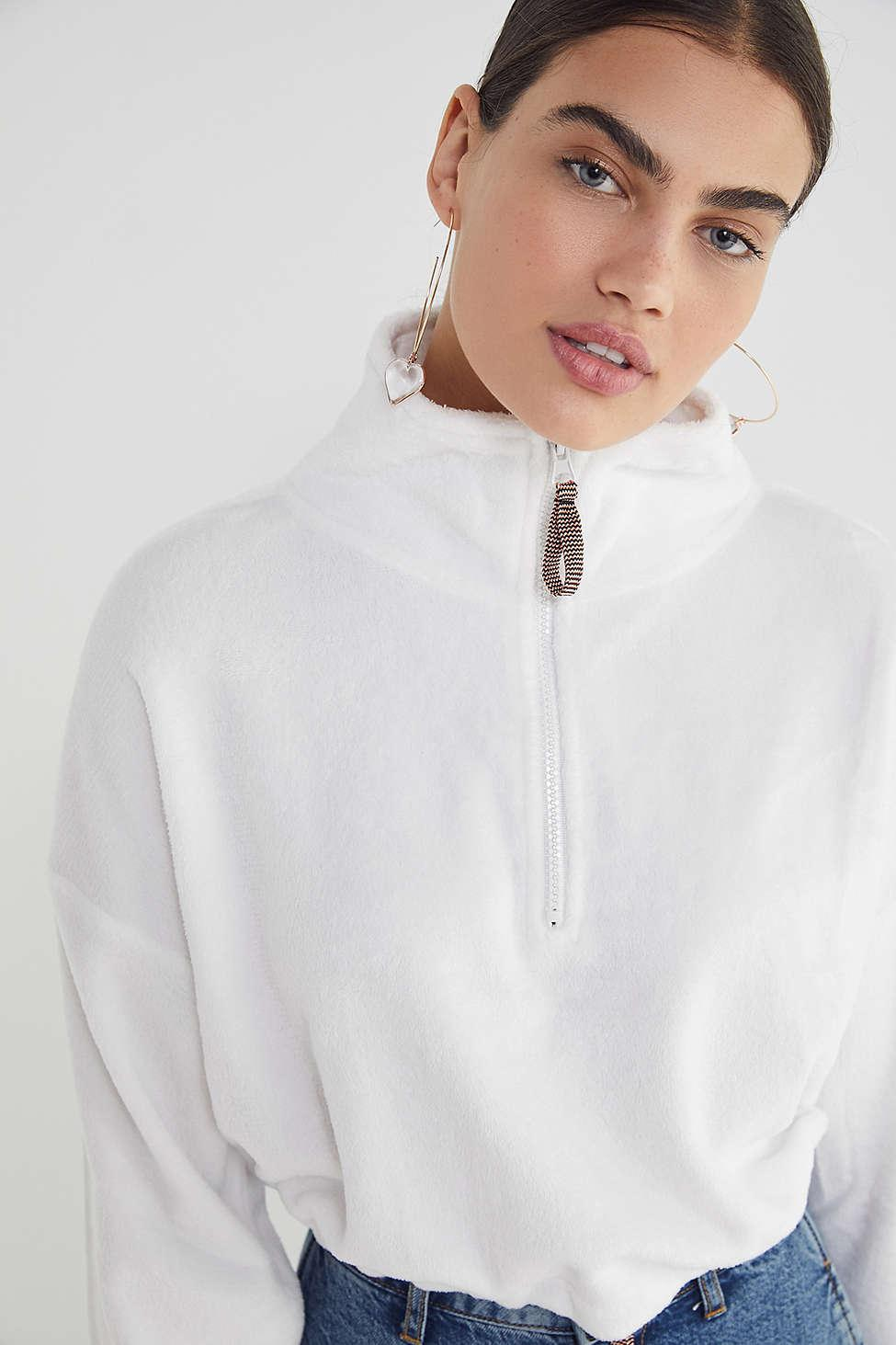 8a6317806 Lyst - Urban Outfitters Uo Angela Fleece Pullover Top in White