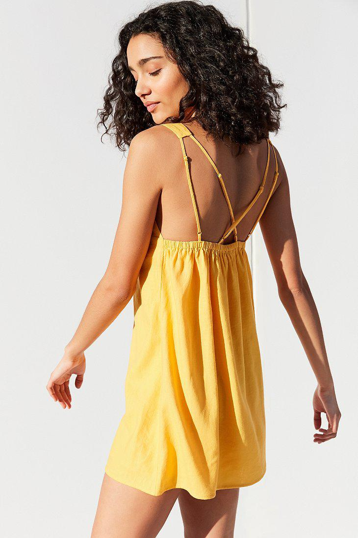 3c51b76a49 Lyst - Urban Outfitters Uo Breezy Plunging Linen Mini Dress in Yellow