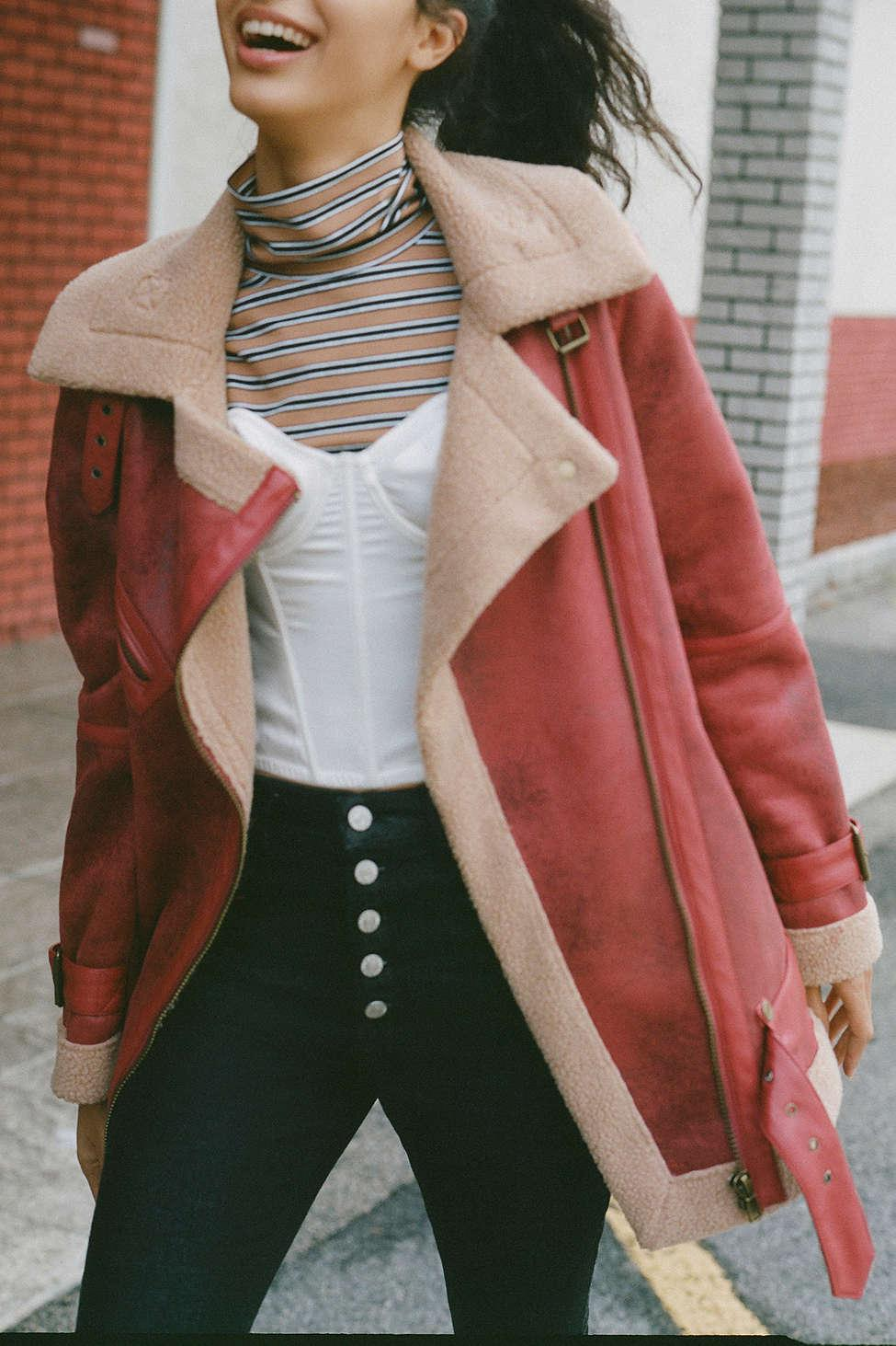 Lyst - Urban Outfitters Uo Oversized Faux Leather Aviator Jacket in Red c2bd5783c