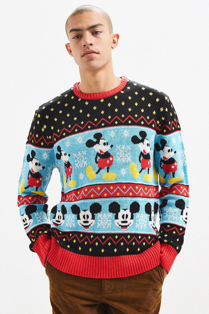 Urban outfitters Mickey Mouse Fair Isle Sweater in Blue for Men | Lyst