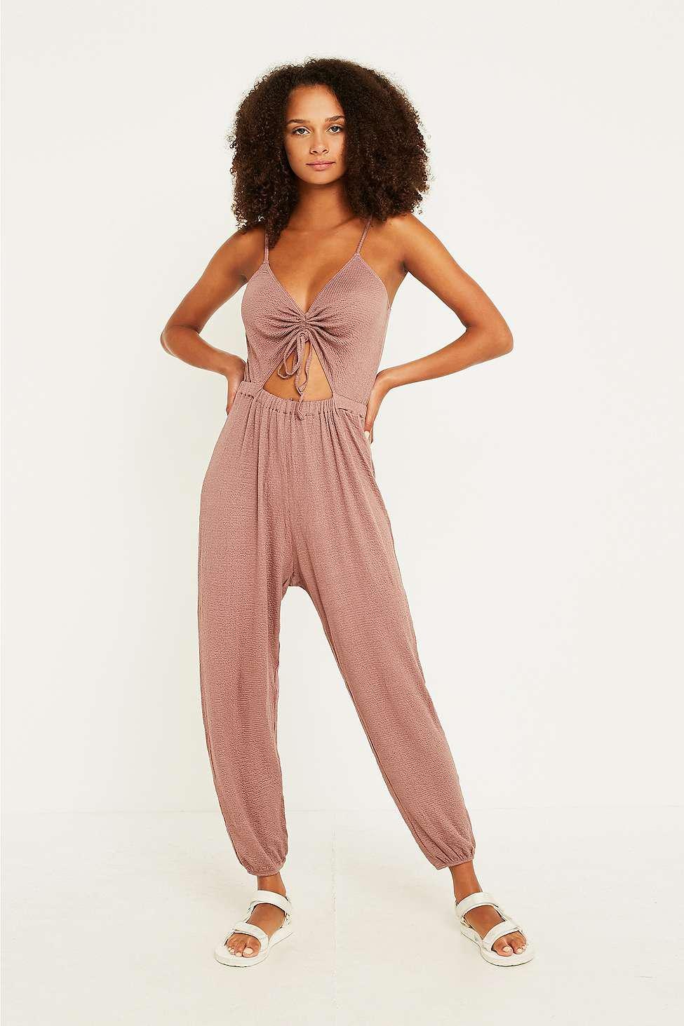 67a3c4bd0429 Out From Under Elsie Cinched Cutout Jumpsuit - Womens Xs in Brown - Lyst