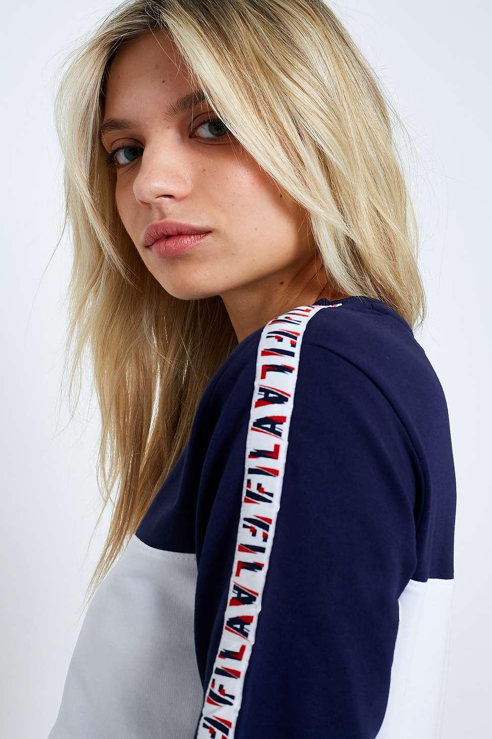 FILA Logo Taped Striped Long Sleeve T Shirt Dress | dress
