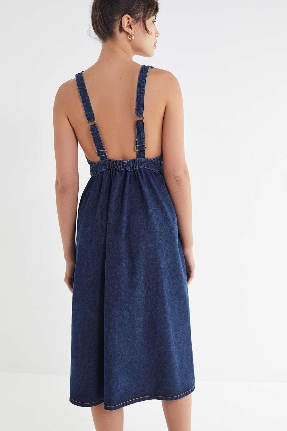 05a6e5cf06 Urban Outfitters Uo Danny Plunging Button-down Denim Midi Dress in ...