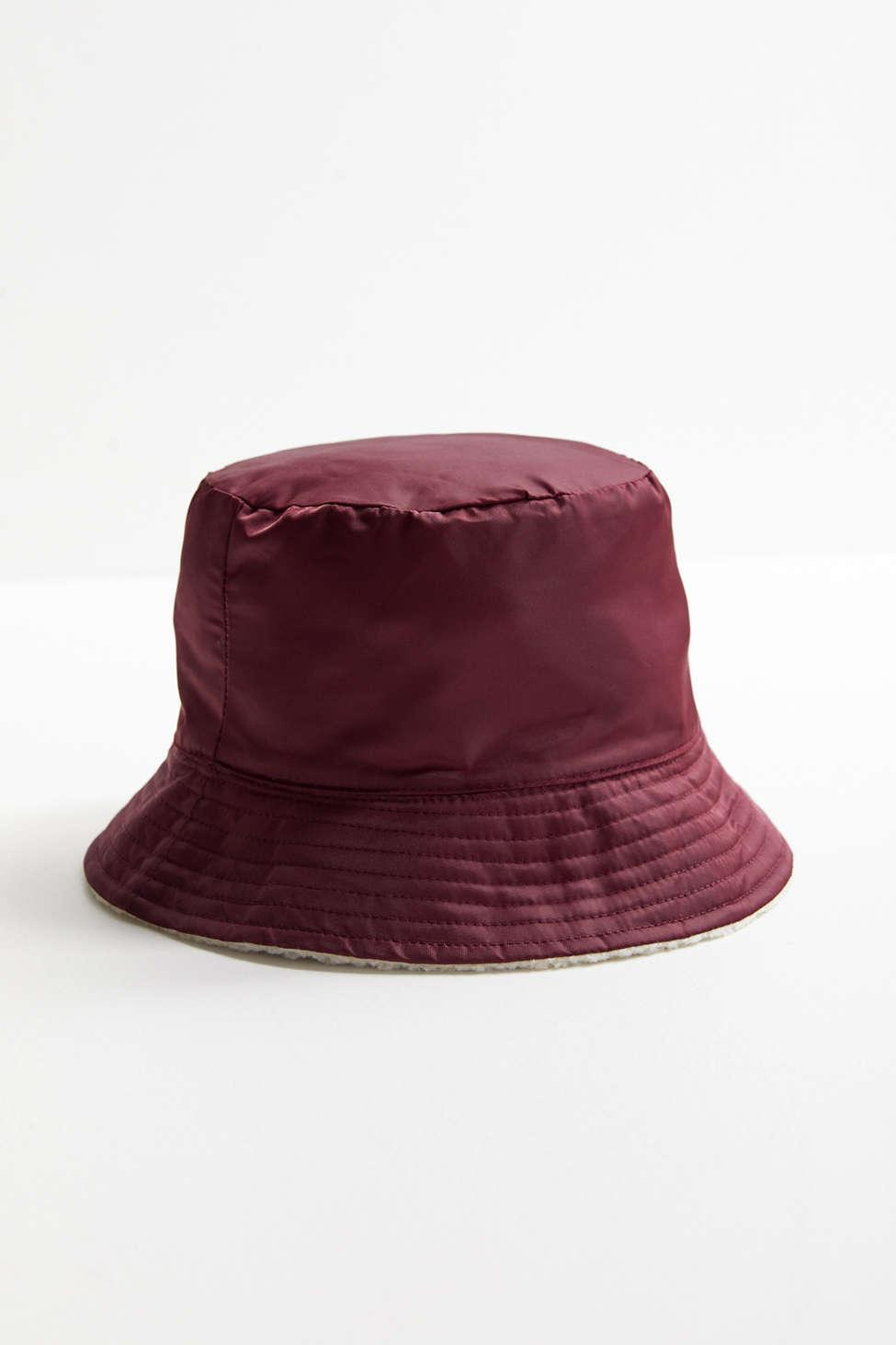 Urban Outfitters - Red Nylon + Sherpa Reversible Burgundy Bucket Hat -  Lyst. View fullscreen a0868440d339