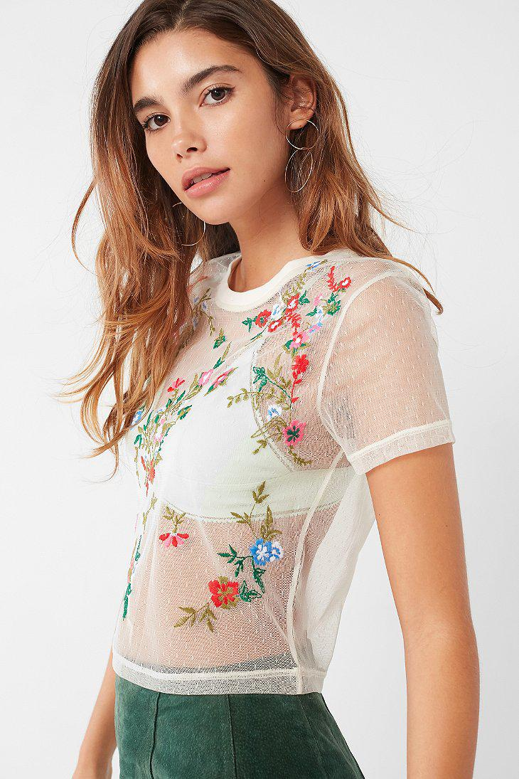 1dbffcccf Urban Outfitters Uo Polka Dot Mesh Floral Embroidered Tee in White ...
