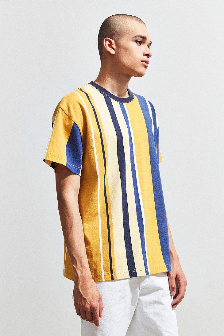 d168cf0e Urban Outfitters Uo Wide Vertical Stripe Dad Tee in Blue for Men - Lyst