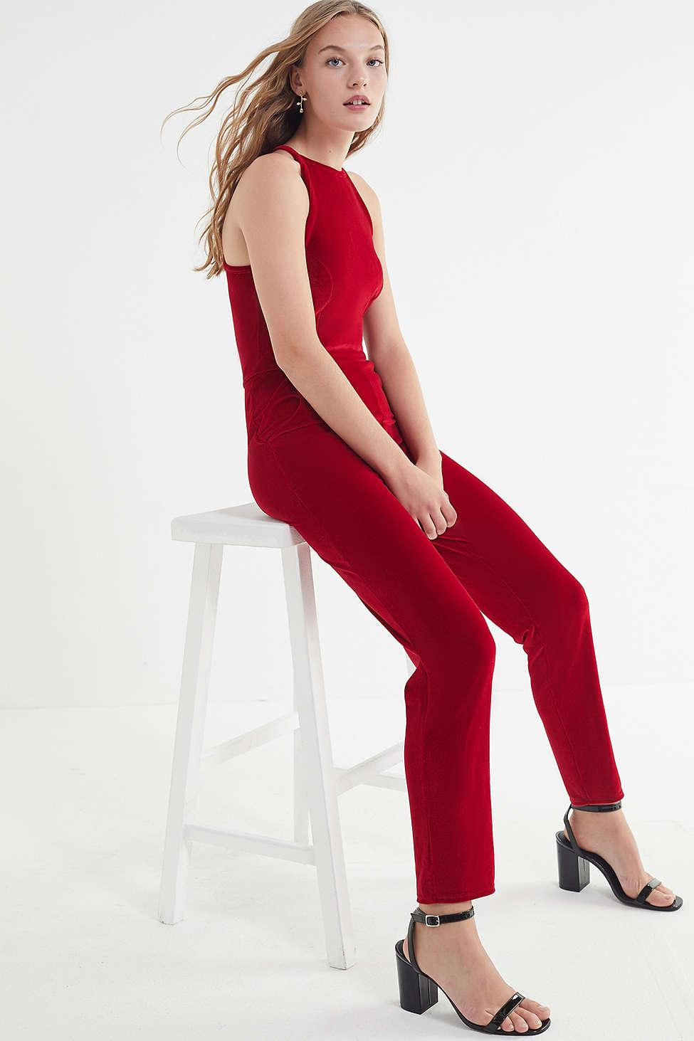 72585b9a8c8 Lyst - Urban Outfitters Uo Naomi Velvet Jumpsuit in Red