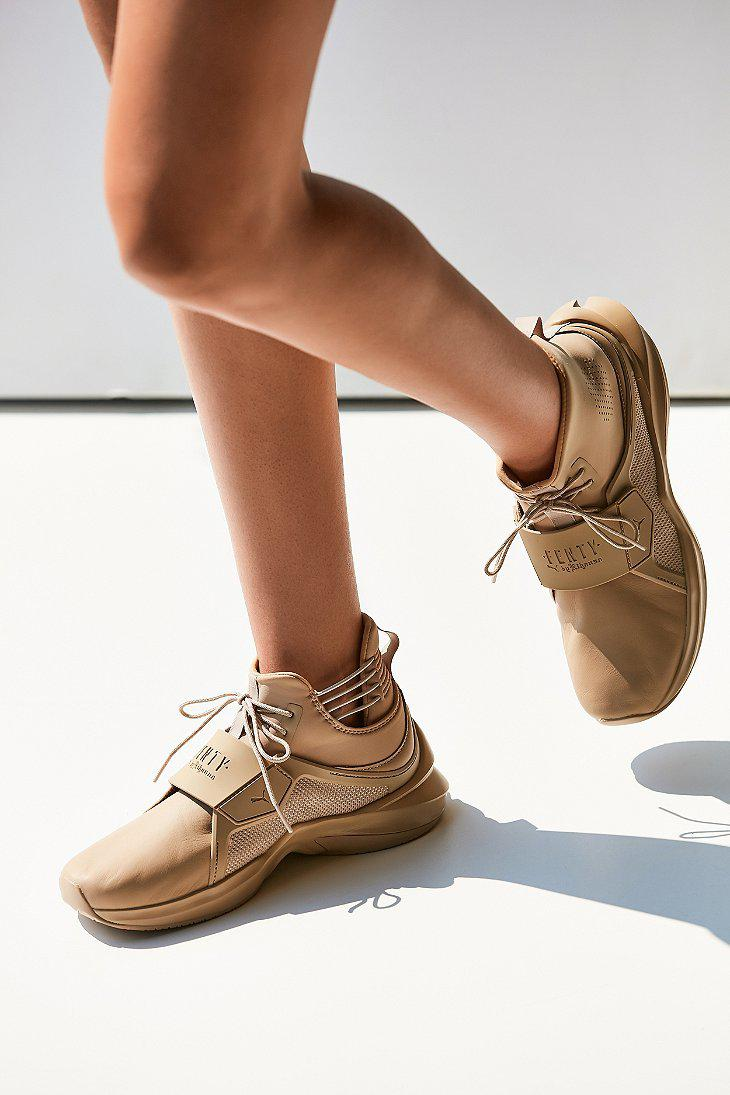 5e38644ee620 Lyst - PUMA Fenty By Rihanna Trainer Hi Leather Sneaker in Natural