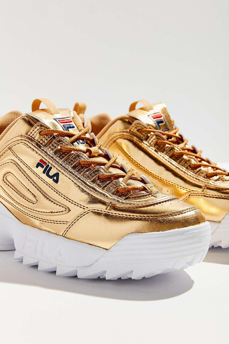 cfbe1048930 Fila Disruptor Ii Premium Metal Gold Trainers - Womens Uk 8 in ...