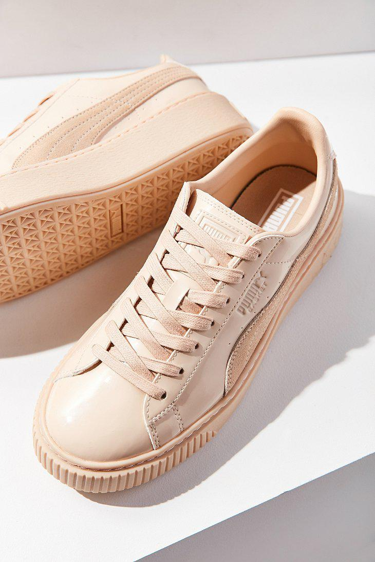 d94b780714e Lyst - PUMA Basket Patent Leather Platform Sneaker in Natural