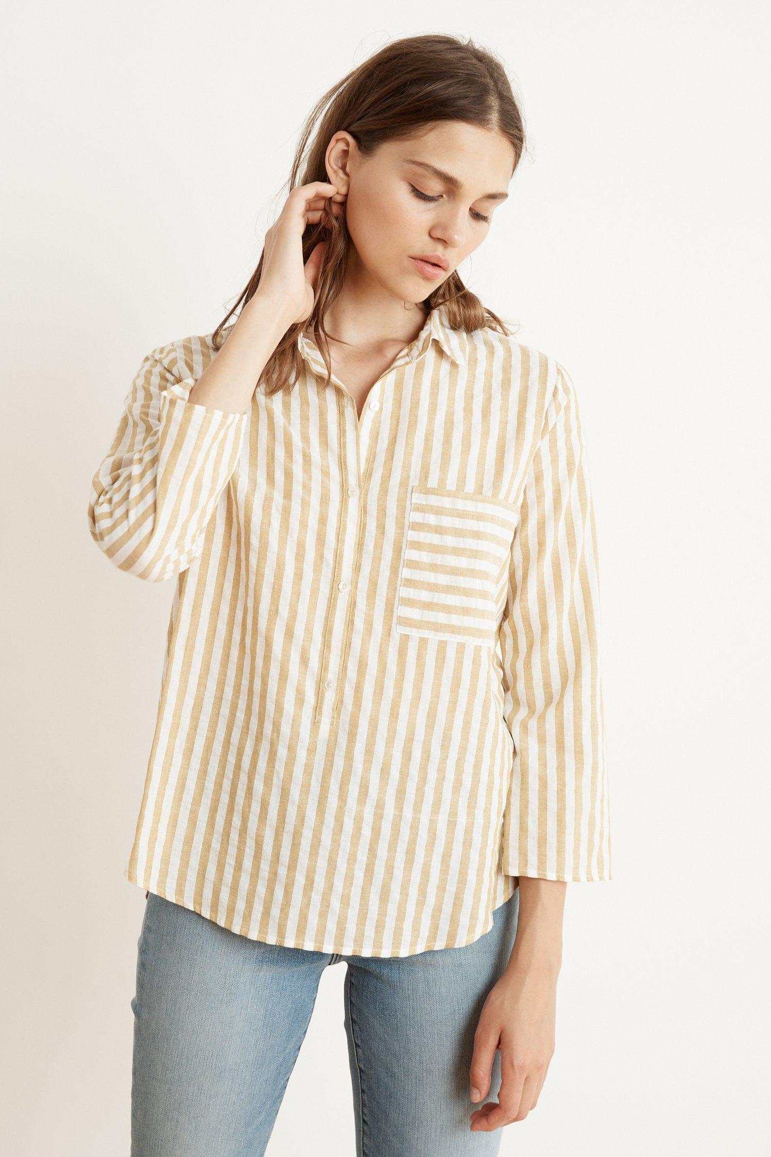 117e53403e50 Mango Tammy Stripe Woven Long Sleeve Button-up Shirt In Yellow in ...