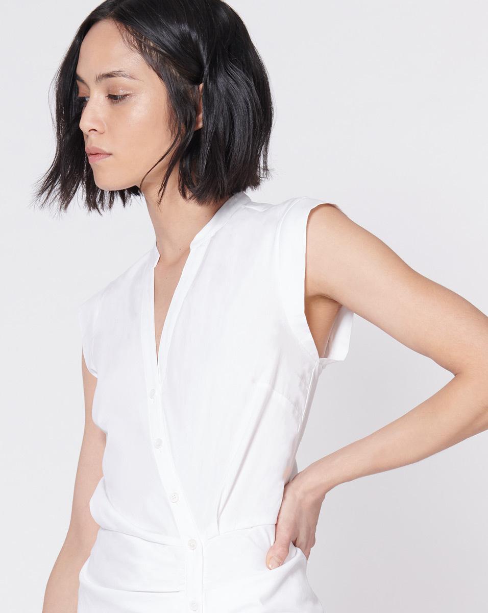 85faf1c3f69 Veronica Beard Ruched Shirt Dress in White - Lyst
