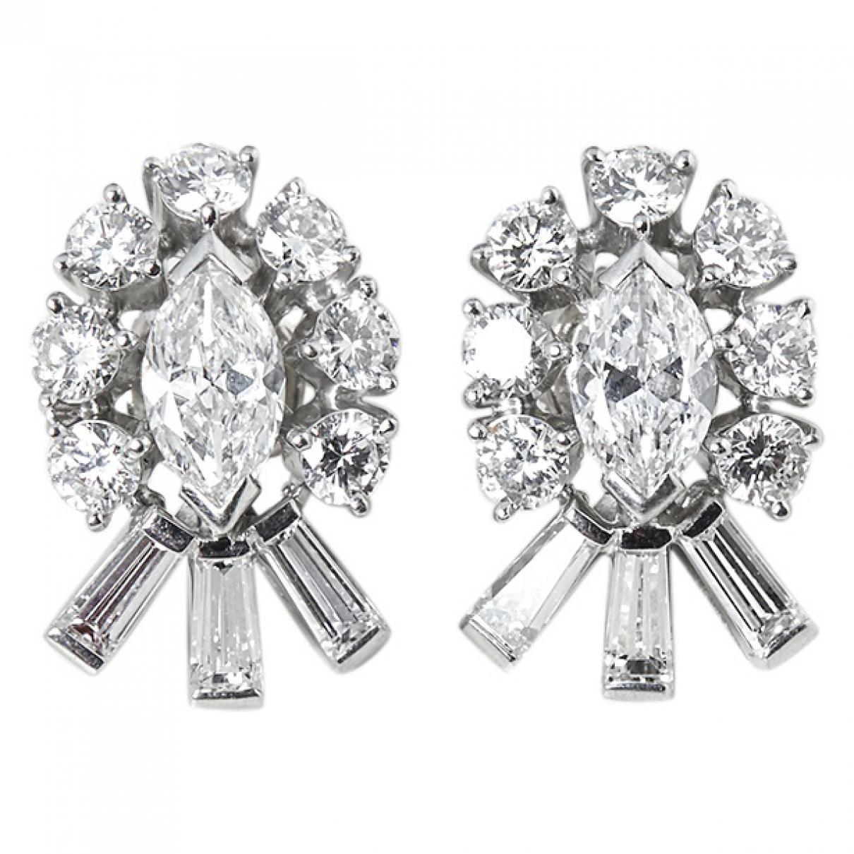 d719cfd4d Tiffany & Co. White Gold Earrings in White - Lyst