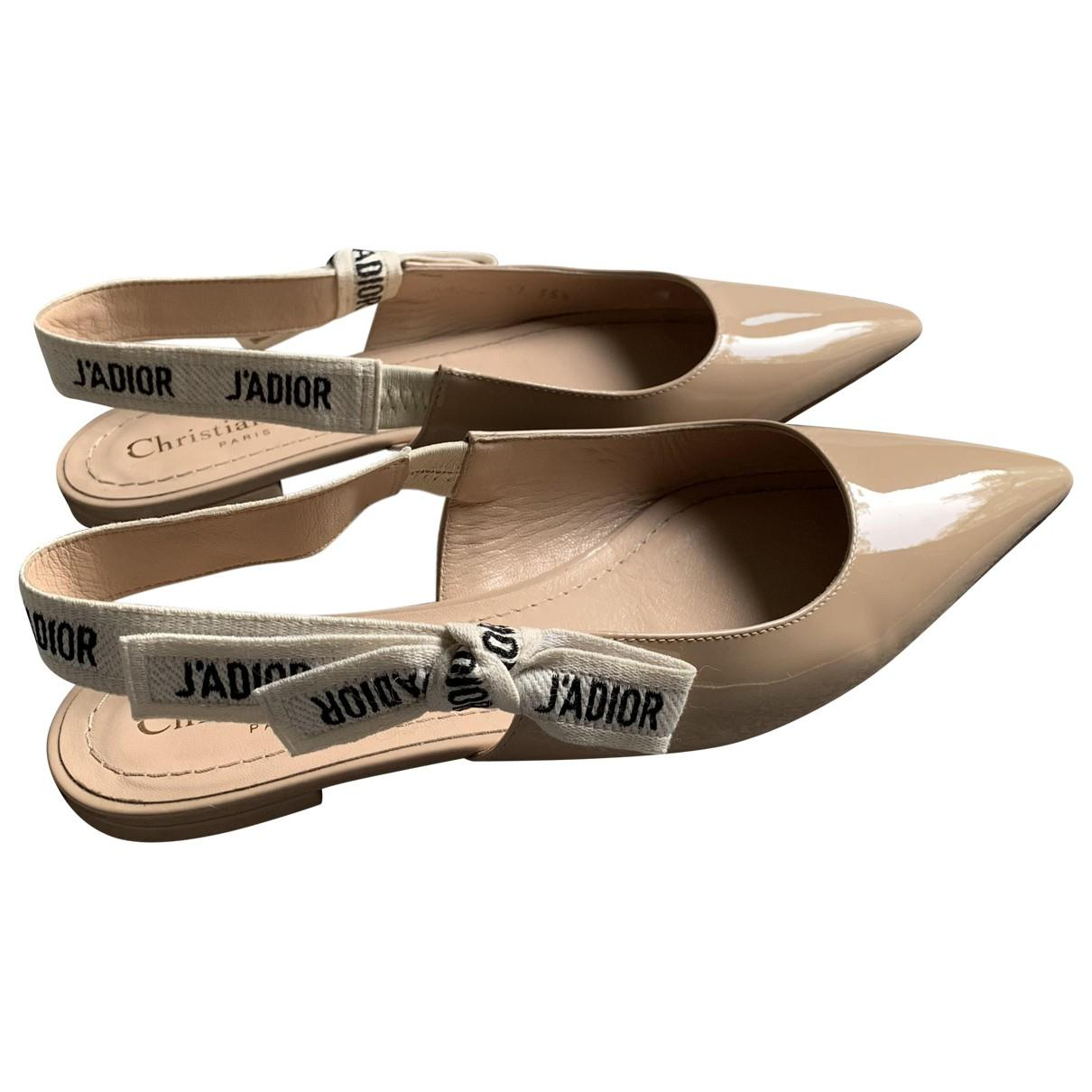 05d28146748 Dior J a Patent Leather Ballet Flats in Natural - Lyst