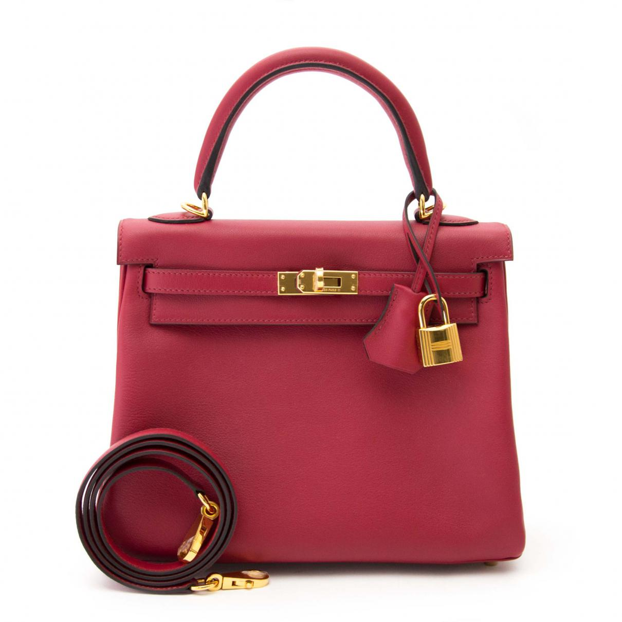 802187c026 Lyst - Hermès Pre-owned Kelly 25 Red Leather Handbags in Red