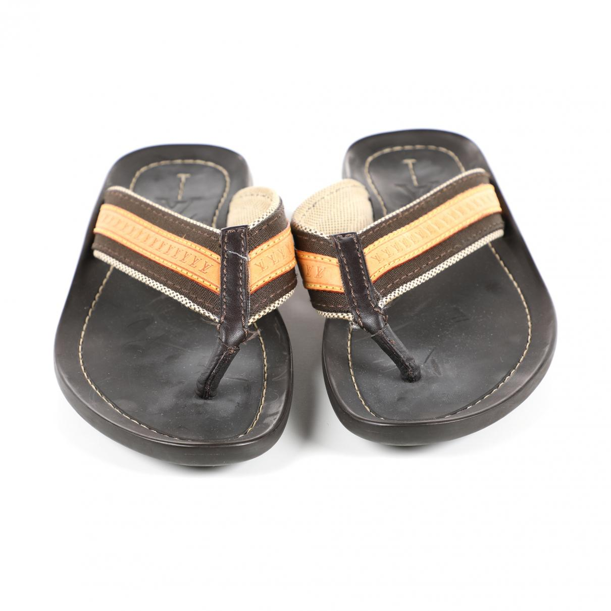 f5c9cc8be Lyst - Louis Vuitton Pre-owned Brown Rubber Sandals in Brown