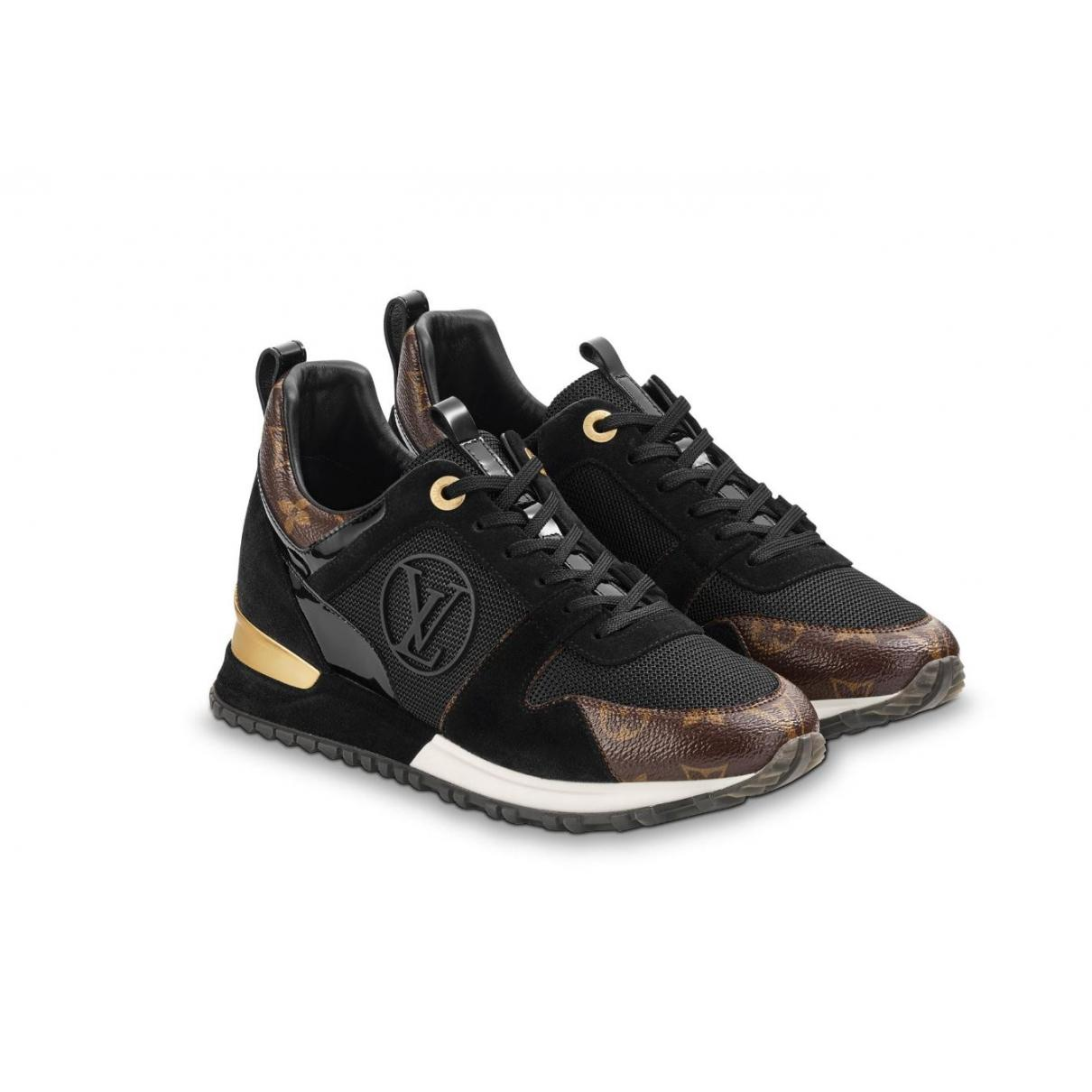 f4df028e041e Lyst - Louis Vuitton Pre-owned Run Away Black Leather Trainers in Black