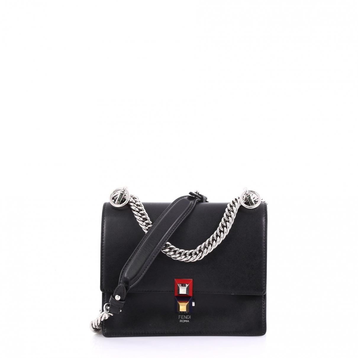 f568fc0d98 Lyst - Fendi Pre-owned Kan I Black Leather Handbags in Black