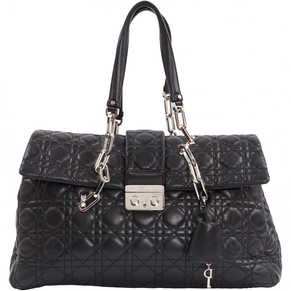 6217bbdce87 Dior Miss Leather Handbag in Black - Lyst