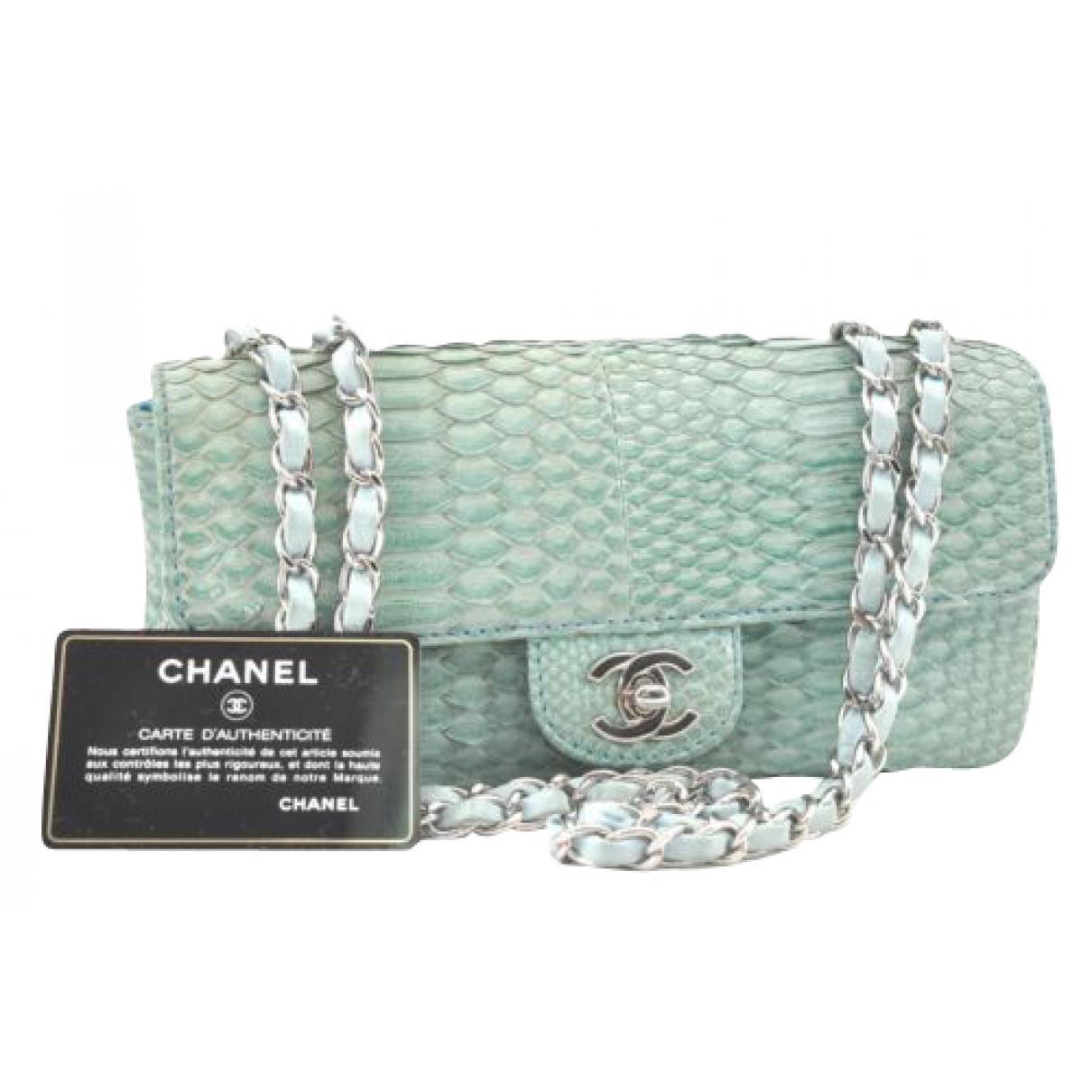 2f32f376147d42 Chanel Pre-owned Blue Python Handbag in Blue - Lyst